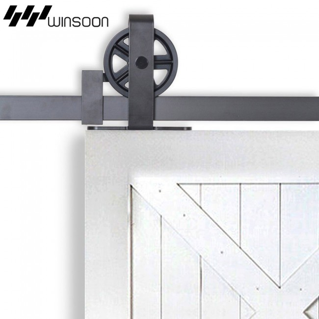 Winsoon 4 18ft Sliding Barn Door Hardware Kit Big Spoke Wheels T