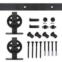 WinSoon 4-18FT Sliding Barn Door Hardware Kit Big Spoke Wheels T-Shape
