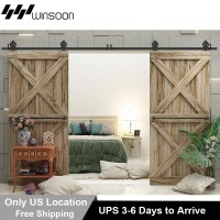 WinSoon  5-16FT T-Shaped Style Big Spoke Wheels Sliding Barn Door Hardware Kit