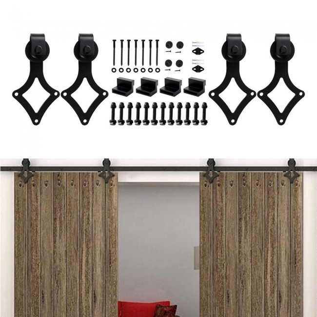 WinSoon 4-18FT Vintage Sliding Barn Door Hardware Double/Single Black Track Kit Rhombic