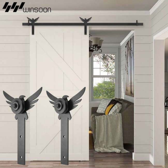 WinSoon 5-18FT New Decorative Sliding Barn Door Hardware Track Kit Eagle Design