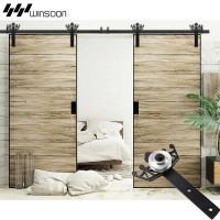 WinSoon 5-18FT Sliding Barn Door Hardware Aluminum Rollers Track Kit Cabinet Closet Crown