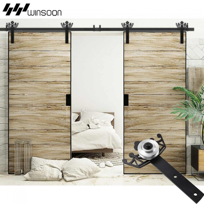 WinSoon 5 18FT Sliding Barn Door Hardware Aluminum Rollers Track Kit Cabinet  Closet Crown Design