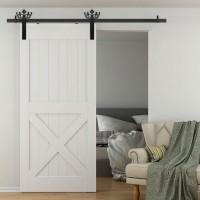 WinSoon 5-18FT Sliding Barn Door Hardware Aluminum Rollers Track Kit Cabinet Closet Crown Design