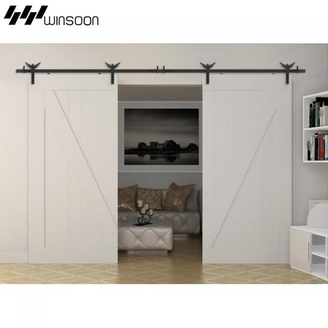 winsoon 5 18ft sliding barn door hardware aluminum rollers track kit cabinet closet eagle design. Black Bedroom Furniture Sets. Home Design Ideas