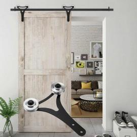 WinSoon 5-18FT Sliding Barn Door Hardware Aluminum Rollers Track Kit Cabinet Closet New
