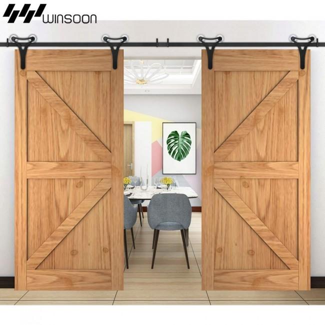 Winsoon 5 18ft Sliding Barn Door Hardware Aluminum Rollers Track Kit Cabinet Closet New Design