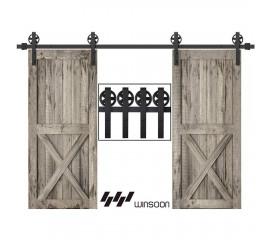 WinSoon 5-18FT Sliding Barn Door Hardware Double Doors Track Kit Black Wheel Style