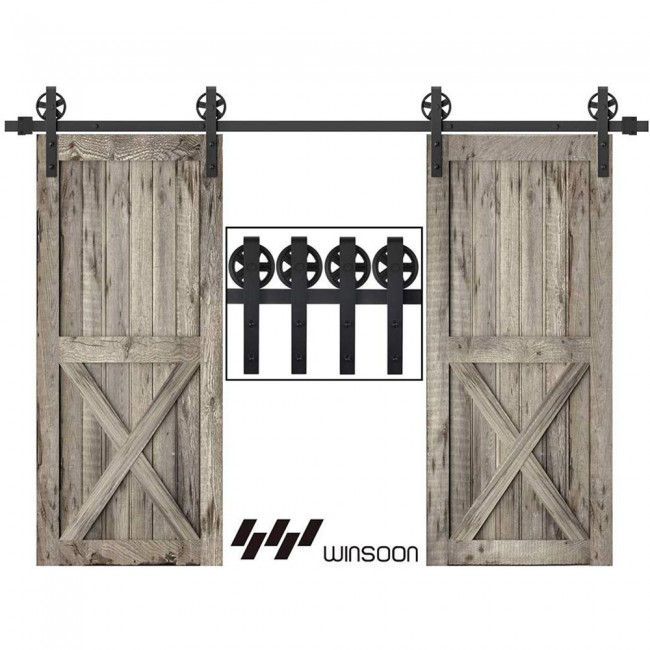 WinSoon 5-18FT Sliding Barn Door Hardware Double Doors Track Kit Black Wheel Style