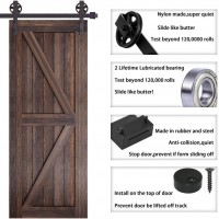 WinSoon 4-18FT Sliding Barn Door Hardware Double Doors Track Kit Black Wheel Style