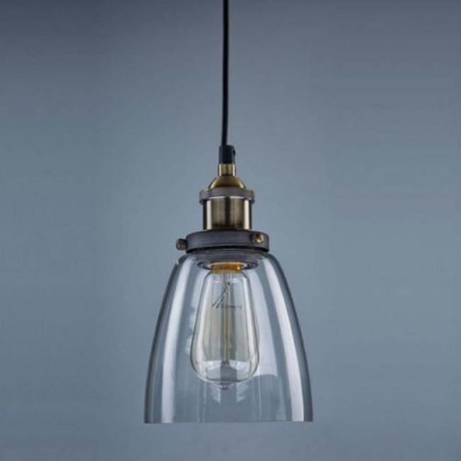 Vintage Industrial Glass Pendant Light: WinSoon Design Vintage Industrial Lamp Clear Glass For