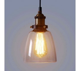 WinSoon Design Vintage Industrial Lamp Clear Glass For Kitchen Loft Shade Fixture