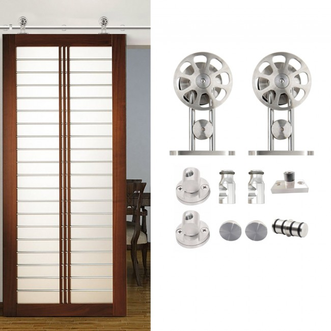 WinSoon 5-16FT Modern Sliding Single Barn Wood Door Hardware Stainless Track Kit