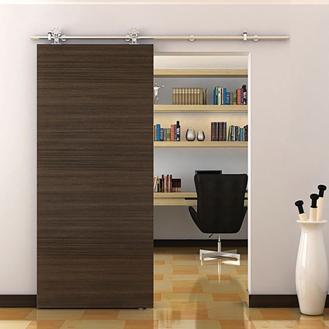 Winsoon 5 8ft modern sliding single barn wood door for Single sliding barn door