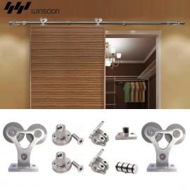 WinSoon 5-8FT Single Sliding Barn Door Hardware Stainless 304 Track Flat Rail Kit