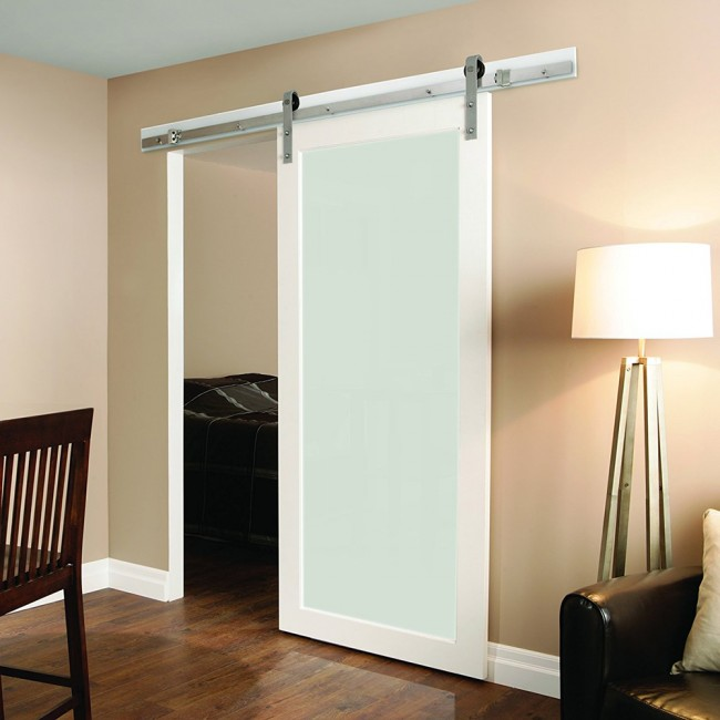 Winsoon 5 8ft sliding barn door hardware stainless single for Single sliding barn door