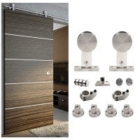 WinSoon 5-8FT Sliding Barn Door Hardware Stainless Single Wood Door Track Kit