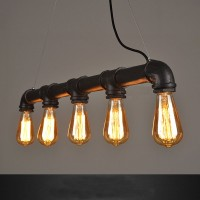 WinSoon 5 Heads Black Retro Industrial Steampunk Lamp Iron Water Pipe Island Pendant Light E26 Edison