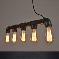 WinSoon 5 Heads Black Retro Industrial Steampunk Lamp Iron Water Pipe Island Pendant Light E26 Edison