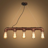 WinSoon 5 Heads Retro Bronze Industrial Steampunk Lamp Iron Water Pipe Island Pendant Light E27 Edison