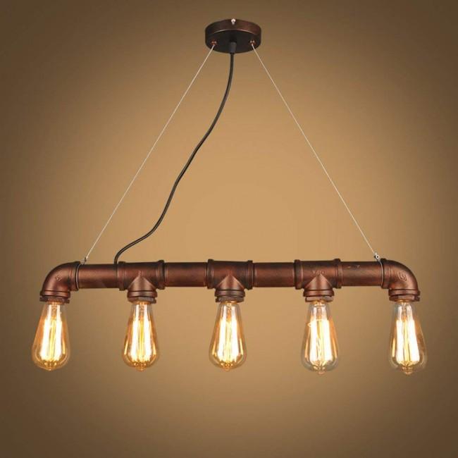 Rustic Black Metal Linear Pendant Light with 5 Heads E26 E27 Bulb Sockets Painted Finish Edison