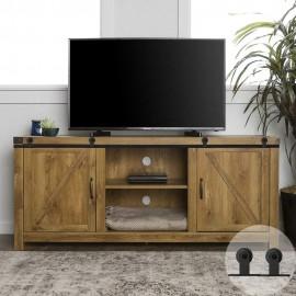 WinSoon 6FT Double Super Mini Sliding Barn Door Hardware Track Kit Wood Door Closet Cabinet TV Stand Media Top Mount