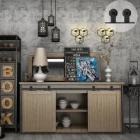 WinSoon 6FT Double Super Mini Sliding Barn Door Hardware Track Kit Wood Door Closet Cabinet TV Stand Media