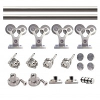 WinSoon 8-16FT Double Sliding Barn Door Hardware Stainless Track Flat Rail Kit Barn Door Hardware