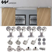 WinSoon 5-16FT Sliding Barn Door Hardware Stainless Track Flat Rail Double Doors Kit