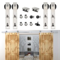 WinSoon 8-16FT Double Sliding Barn Door Hardware Stainless Track Kit Bent Straight