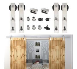 WinSoon 8-16FT Double Sliding Barn Door Hardware Stainless Track Kit Bent Straight