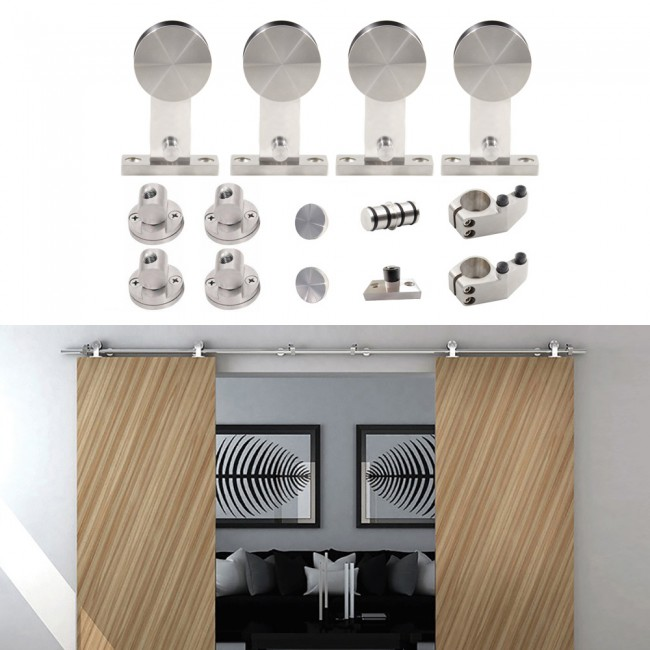a6ead1f8d31 WinSoon 5-16FT Sliding Barn Door Hardware Stainless Track Kit For Double  Doors