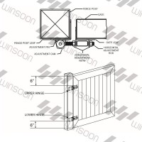 Winsoon Adjustable Self Closing Gate Hinge 2-Pack Black Finish Vinyl and Wood Fences New