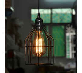 WinSoon Antique Iron Cage Edsion Design Pendant Light Room Lighting