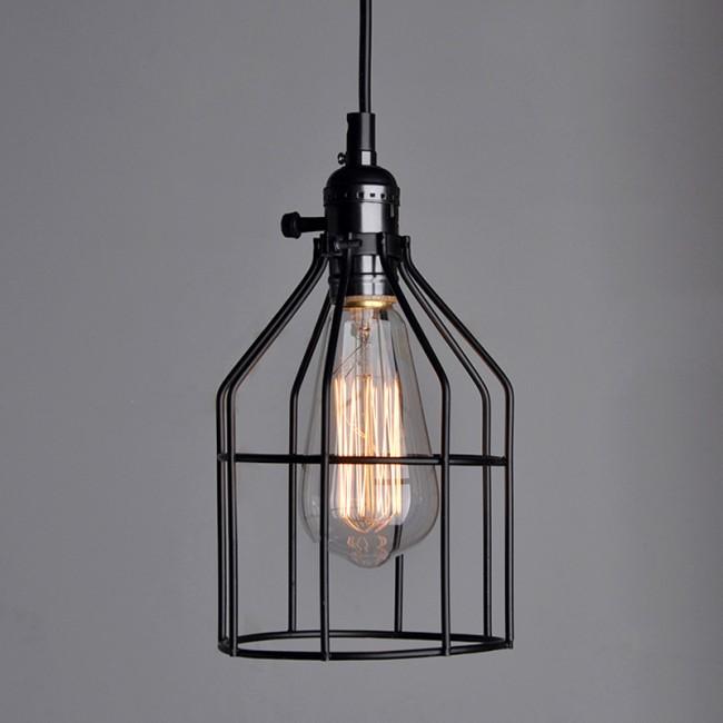 WinSoon Antique Iron Cage Edsion Design Pendant Light Room