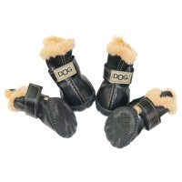 WINSOON Australia Boots Pet Antiskid Shoes Winter Warm Sneakers Paw Protectors 4-pcs Set (Size 3, Black)