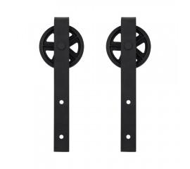 WinSoon Black Antique Roller Kit for Sliding Barn Door Hardware System (Big Black Wheel)