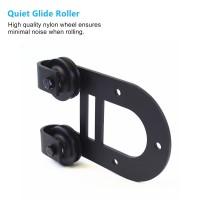 WinSoon Black Roller  Hanger Kit for Sliding Barn Wood Door Hardware Kit (Horseshoe Design)