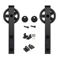 Black Roller Kit for Sliding Barn Door Hardware Big Black Wheel