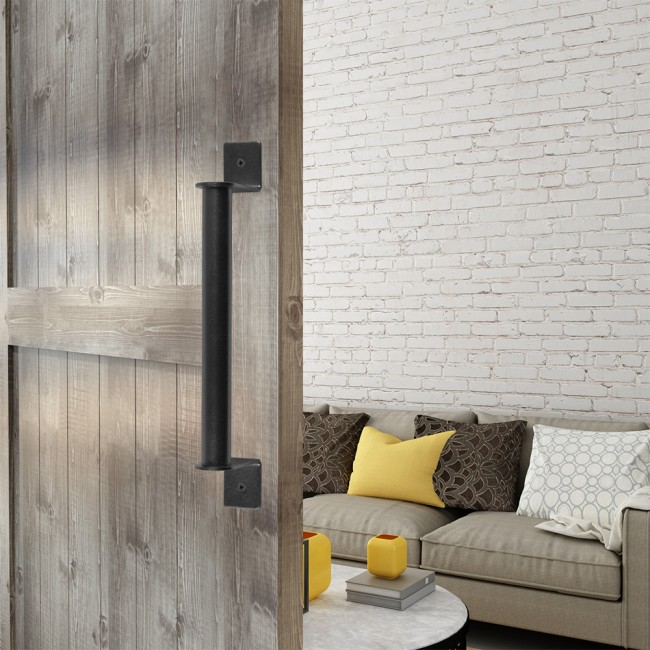 Winsoon Black Rustic Sliding Barn Door Handle Pull Flush Sliding Barn Door Hardware Pipe & Winsoon Black Rustic Sliding Barn Door Handle Pull Flush Sliding ...