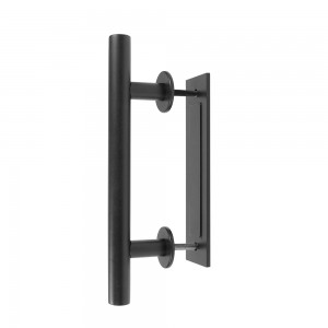 Door Handle Black Steel Pull Vertical Flush