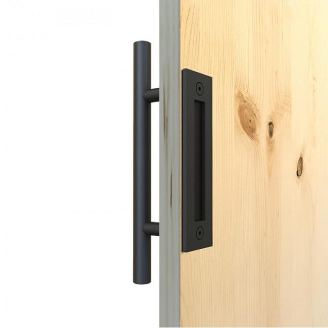 Winsoon Black Steel Door Handle For Sliding Barn Wood Hardware Closet Pull Vertical Flush