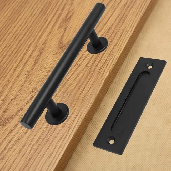 Attrayant WinSoon Black Steel Door Handle For Sliding Barn Wood Door Hardware Closet  Door Pull Vertical Flush