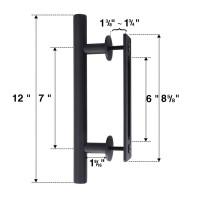 WinSoon Black Steel Door Handle For Sliding Barn Wood Door Hardware Closet Door Pull Vertical  Flush