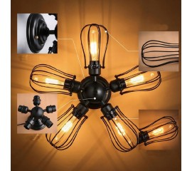 WinSoon Country 5 Heads Industrial Rustic Flush Mounted Ceiling Light Wall Lamp