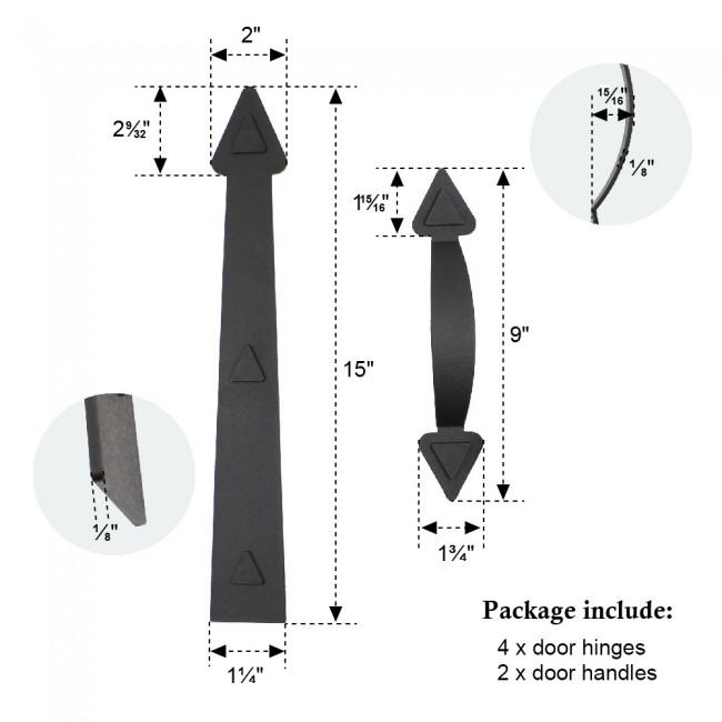 Black 2 Handles and 4 Hinges Kit for Door Carriage Accents Magnetic Decorative Garage Door Hardware