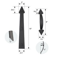 Winsoon DIY Magnetic Decorative Garage Door Hardware 2 Handles and 4 Hinges Kit for Door Carriage Accents Black