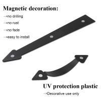 WINSOON DIY MAGNETIC DECORATIVE GARAGE DOOR HARDWARE 4 HANDLES AND 8 HINGES KIT FOR DOOR CARRIAGE ACCENTS BLACK