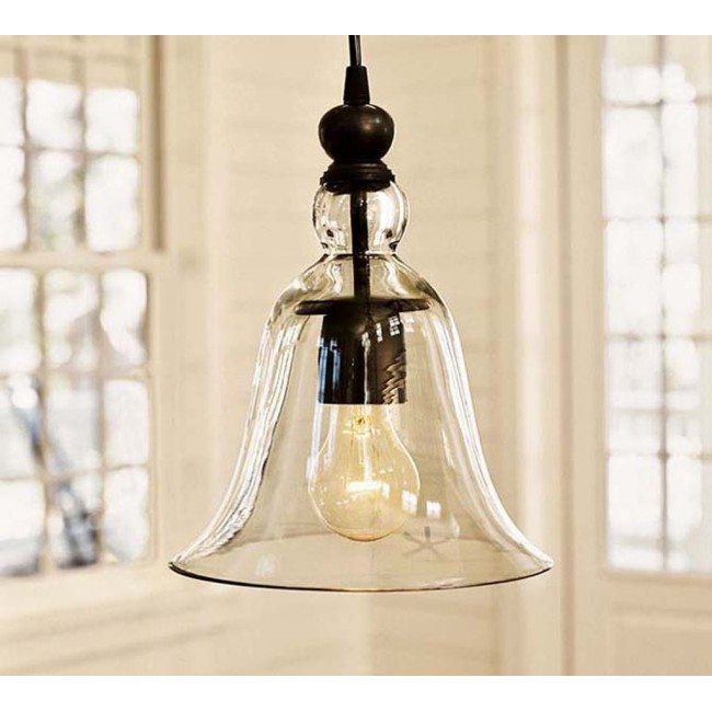 WinSoon 1 Light Vintage Hanging Big Bell Glass Shade