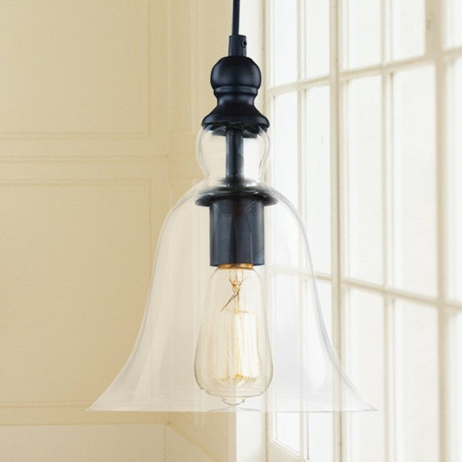 Winsoon 1 light vintage hanging big bell glass shade ceiling lamp winsoon 1 light vintage hanging big bell glass shade ceiling lamp pendent fixture aloadofball Image collections